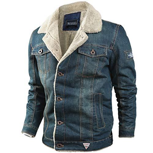 Flygo Herren Denim-Jeansjacke, Sherpa-Futter, geknöpfte Truckerjacken - Blau - Klein Junior Fashion Denim Jacke