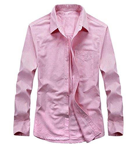 Baymate Uomo Solido Camicia Maniche Lunghe Casuale Tops Con Petto Tasca Pink