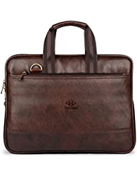 The Clownfish Vegan Leather 8.4 Liters Briefcase |Slim Expendable Bag| |Mac Air| Up to 14 inch laptop size|Laptop Bag|Macbook|Pro Macbook Air|Slim Bag