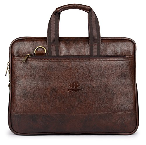 The Clownfish Vegan Leather 8 Ltr Dark Brown Laptop Briefcase (40 x 30 x 7 CM)