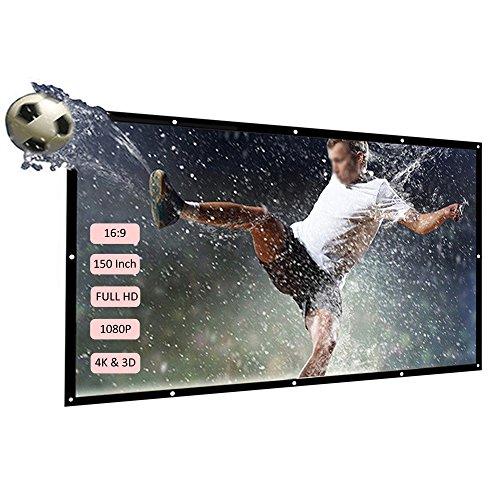 Docooler H150 150 '' écran de Projection Portable HD 16: 9 Blanc 150 Pouces Diagonale écran de Projection Pliable Home cinéma pour la Projection Murale à l'intérieur en Plein air