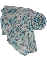 Pheasant Bird Design Scarf in Grey Animal Print Scarf Ladies Fashion Scarves