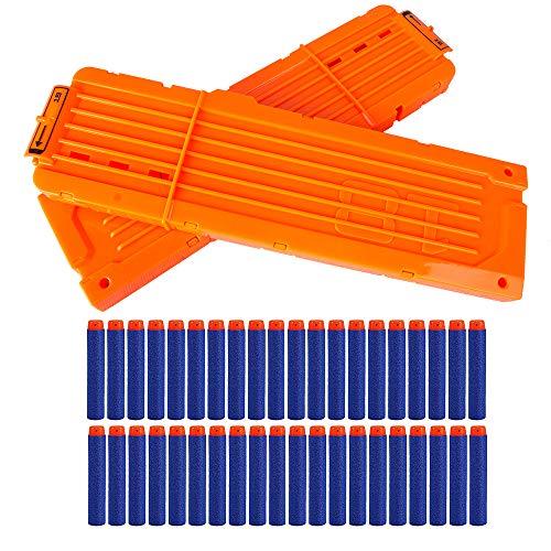 LVHERO 2 Stück Nerf N Strike Blaster Kompatibler 18er Clip Magazine Schnell Nachladen Clip mit 40 Stück 7,2cm Pfeile Dart Bullets (18 Pfeile)