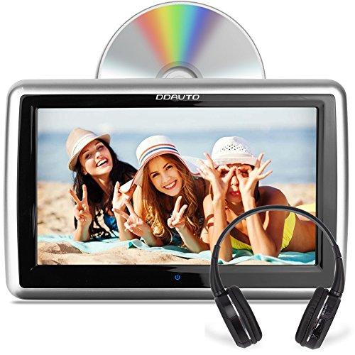 DDAUTO 10,1 Zoll DVD Kopfstütze Monitor Hitachi Einfügemarke Laufwerk LCD Bildschirm Touch-Screen Auto DVD Player mit drahtloser IR-Kopfhörer (DD1019HTS)