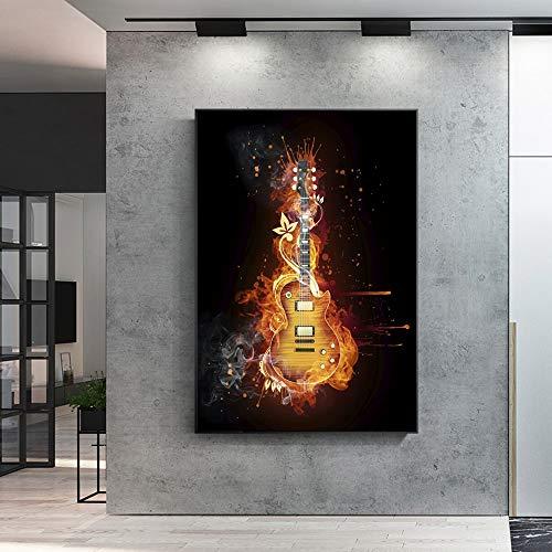 XWArtpic Gitarre Wandkunst Leinwand E-Gitarre Ölgemälde Druck Auf Leinwand Abstrakte Moderne Bild Für Wohnzimmer Cuadros Decor 40 * 50 cm