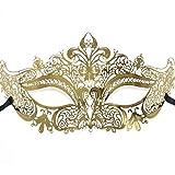 RXBC2011 1pcs Gold Glaenzend Metall Filigran Phantom Halbegesichtsmaske Fuer Venetian Maskenspiel
