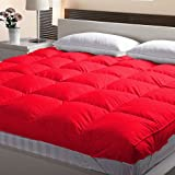 """Linenovation 5 Ft X 6 Ft Small Queen Size Finest Imported Super Microfiber Mattress Padding/Topper-(60""""X72"""")-Blood Red"""