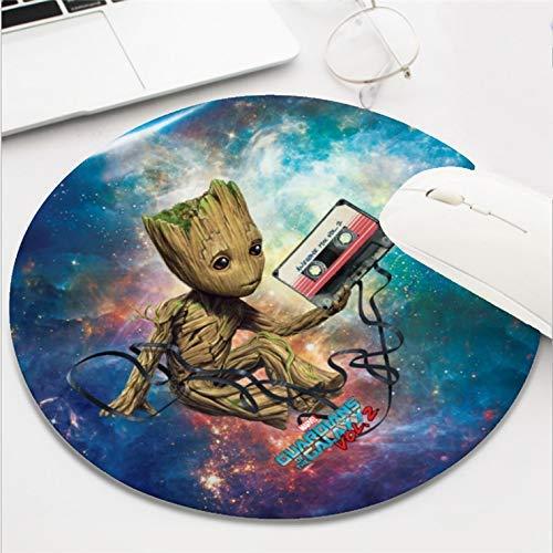Computer-Gaming-Mauspad, wasserdicht, rutschfest, Gummi-Material, rund, für Büro und Zuhause, 20,3 cm (8 Zoll), Guardians of the Galaxy Vol 2 Groot mit Klebeband -