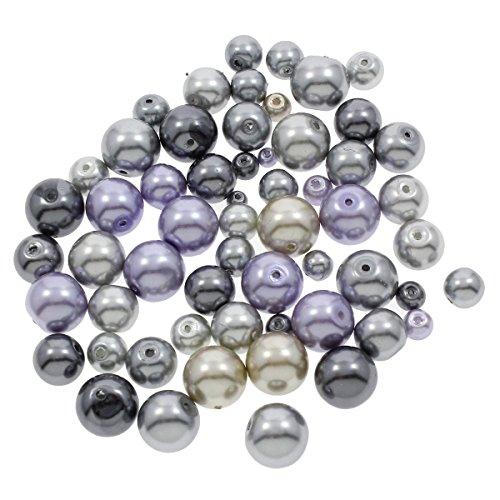 250g Glaswachsperlen Konvolut Wachsperlen Kugel Glasperlen Mix Silber Grau Set 4 6 8 10 12 mm Schmuckperlen zum Fädeln D36