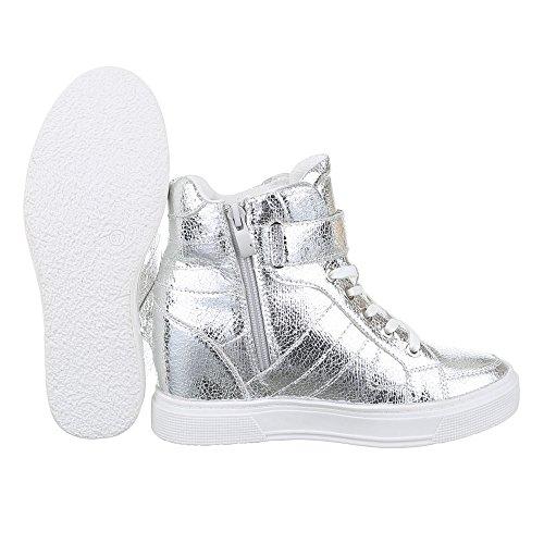 design De Sapatos Tênis Prata Calcanhar Mulheres Ital Cunha Alto top De Zip Cunha Sapatos Casuais 7IvTq