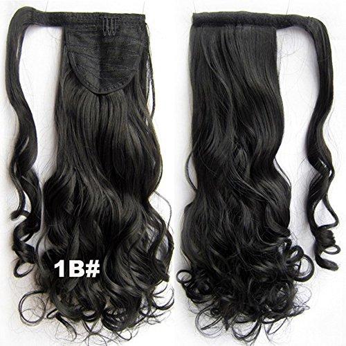 Queen Wig 22inch 55cm 90g long vague de corps synthetique clip in queue de cheval extensions de cheveux Wrap Around queue de cheval postiches - #1b naturel noir