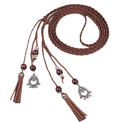 WINWINTOM Mujeres Moda folk Custom Borla colgante cintura cinturón trenzado (Marrón B)
