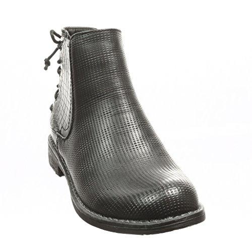 66a9abdab198af Mode Chelsea Boots Intérieur Fourrée Bloc Serpent Femme Perforée Talon Noir  Bottine 3 Peau Chaussure De Lacets Cm Angkorly U5xwCqU