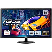 ASUS VP28UQG, 28 Inch 4K (3840x2160) Gaming Monitor, 1 ms, DP, HDMI, FreeSync, Low Blue Light, Flicker Free, TUV Certified