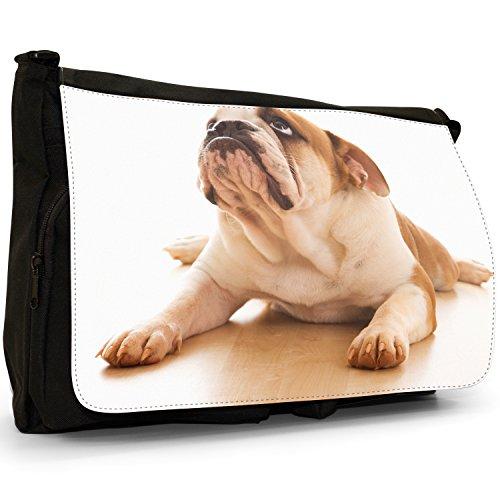 Fancy A Bag Borsa Messenger nero Bull Dog Sitting Bull Dog Lying Down Staring Up