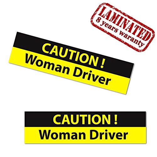 Skino 2 Stück Vinyl Lustig Aufkleber Autoaufkleber Funny Stickers Caution Woman Driver Frau Fahrer Auto Motorrad Fahrrad Tuning