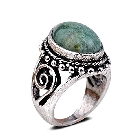 Yazilind Vintage Antique Oval Cut Green Jasper Retro Silver Plated M Ring Women