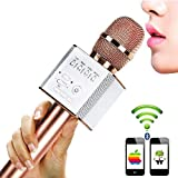 Karaoke Microphones, URPIRE Wireless Bluetooth 4 in 1 Portable Handheld Home KTV Player, Superior Audio Quality for Singing & Recording - Compatible with Android and iOS (Rose Gold)