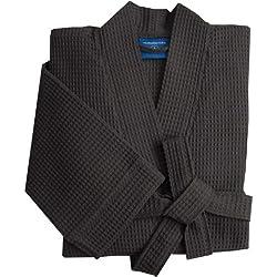 Morgenstern Peignoir Homme 100% Coton Taille XXL lonqueur 110 cm Gris Tissage gaufré Waffle Robe de Chambre Kimono Serviette de Bain pour Spa Sauna