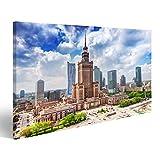 Bild Bilder auf Leinwand Warschau, Polen Luftbild Palast