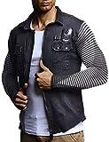 LEIF NELSON Herren Strick-Jacke-Hemd| Vintage Jeans-Hemd für Männer Slim-Fit Langarm | Freizeit Jacke-Hemd Verwaschen Casual LN3550; Größe M, Schwarz
