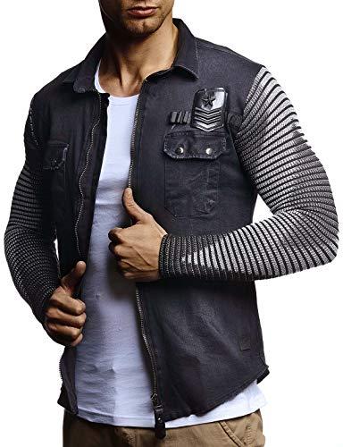 LEIF NELSON Herren Strick-Jacke-Hemd  Vintage Jeans-Hemd für Männer Slim-Fit Langarm   Freizeit Jacke-Hemd Verwaschen Casual LN3550; Größe L, Schwarz