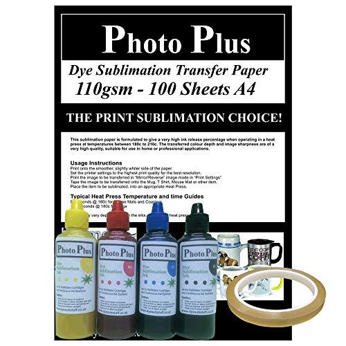 PhotoPlus 200 ml Farbsublimationstinte, 100 Blatt Transferpapier und Heißklebeband, Wise-Buy Multipack