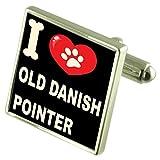 Select Gifts Ich liebe meinen Hund Silver-Tone Manschettenknöpfe alten dänischen Zeiger