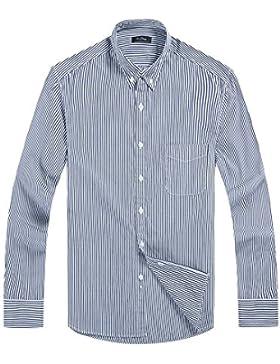 Hombres camiseta de manga larga de solapa , rayas grises, M.