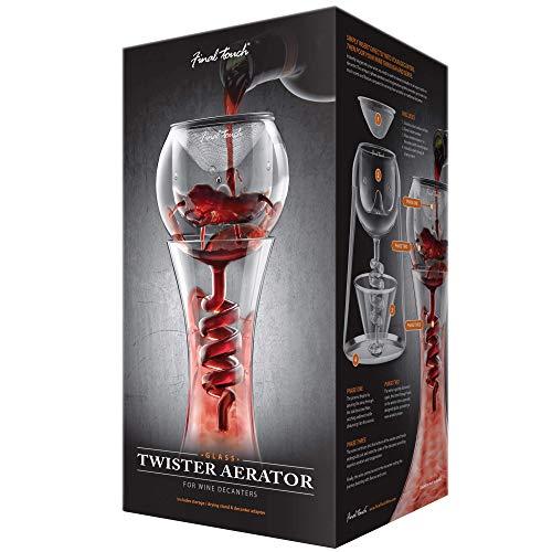 Aireador de cristal Final Touch WDA918, forma de espiral, compatible con la mayoría de decantadores de vino, incluye filtro de sedimentos de acero inoxidable