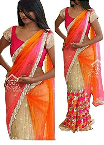 JHTEX FASHION INDIAN WOMENS ORANGE AND CREEM GEORGETTE FANCY DESIGNER SAREE WHITH BLOUSE AND PARTY WEAR SAREE DIWALI SPECIAL SAREE