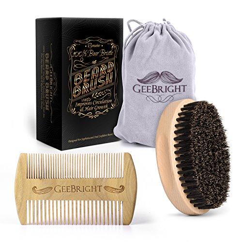 Geebright Brosse à barbe, Kit de brosse et peigne en barbe à la main avec sac de voyage Brosse à poils naturels avec peigne de barbe Kit de toilettage portatif pour homme, emballé dans une boîte à cadeaux premium