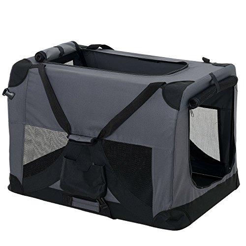 [pro.tec] Hundetransportbox (grau - faltbar) Gr. XL
