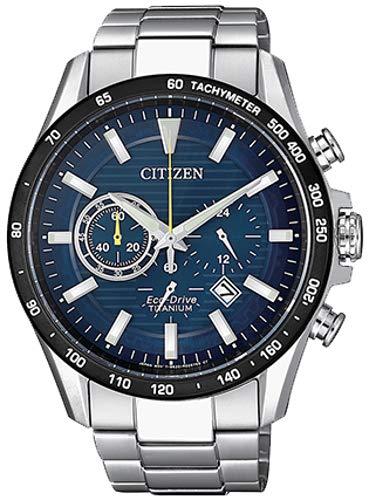 Cronografo uomo eco drive blu super titanium citizen