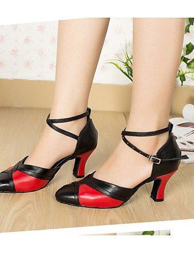 ShangYi Chaussures de danse (Noir) - Non personnalisable - Talon bas - Flocage - Moderne black and red