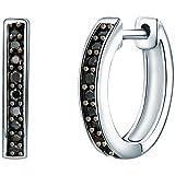 Rafaela Donata Damen-Creolen Zirkonia schwarz 925 Sterling Silber - Moderne Ohrringe dünn Klappcreolen mit Steinen 60837066