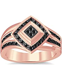 Silvernshine 1.35Ctw Round Cut Black Simuleted Diamonds 14K Rose Gold Plated Engagement Ring