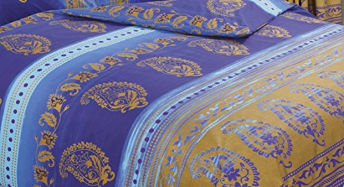 Kashmir Blue, Single Bed Duvet / Quilt Cover Set, Ethnic Asian Indian Floral Dots Print, Navy Sky Blue Purple Metallic Gold, Superior Quality 68 Pick Fabric