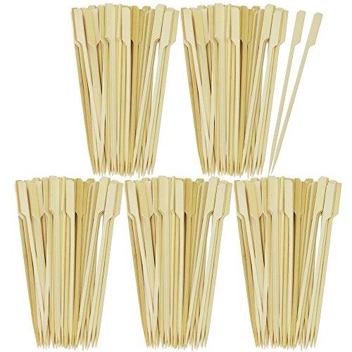 com-four® 250x Fingerfood Spieße aus Bambusholz - Holzspieße mit breiter Grifffläche für besseren Halt - ideal für Buffet oder Gastro (0250 Stück - 18cm mit Griff)