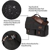 Mens Messenger Bag,15.6 Inch Water Resistant Canvas Satchel Casual Laptop Shoulder Bag Briefcase Crossbody Daybag Vintage Bookbag by RAVUO Black