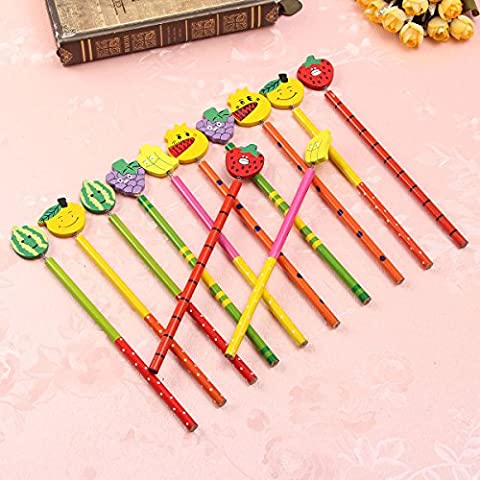 Tutoy 12 Pcs En Bois Mignon Dessin Animé Crayons Papeterie Cadeaux Pour Enfants