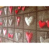 Alfombra de cocina de PVC, marrón y beige, con corazones, anchura 55 cm, se vende por metros