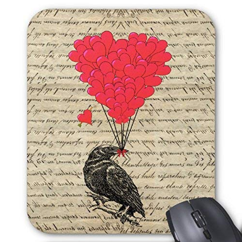 Vintage Crow and Heart Shaped Balloons Happy Halloween Mouse Pad Rectangle Non-Slip Rubber Personalized Mousepad Gaming Mouse Pads