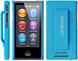 MiniSuit JAZZ Slim Shell Case with Belt Clip + Screen Guard for iPod Nano 7 (Rubberized Blue)