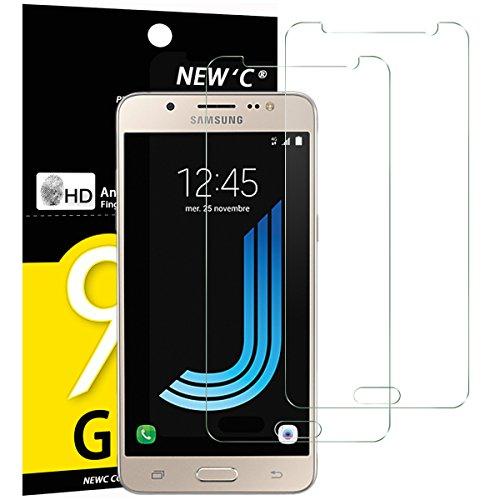 2 Pack Verre Trempé Samsung Galaxy J5 2016, NEWC® Film Protection en Verre trempé écran Protecteur vitre ANTI RAYURES SANS BULLES D'AIR Ultra Résistant Dureté 9H Glass pour Galaxy J5 2016