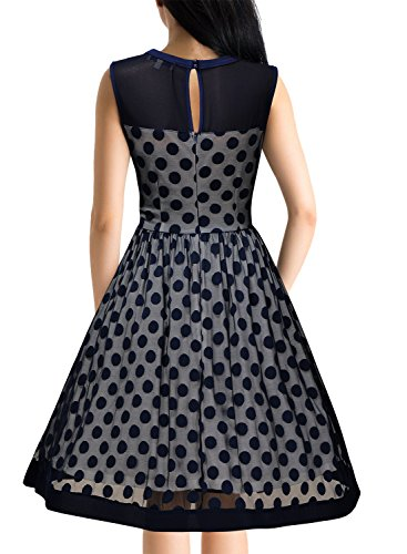 Miusol Damen Knielang Abendkleid Retro 50er Rockabilly kleid Cocktail Ballkleid Blau Gr.XL -