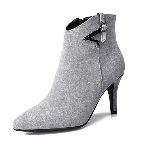 Signore inverno Nubuck pelle sottolineato metallo Fine con vera pelle scarpe stivaletti , gray , 40