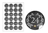 2er Set 2 Bögen a 24 STICKER: 2x 24 Adventskalenderzahlen in SCHWARZ WEIß mit Weihnachtskranz und Zahlen 1-24 im
