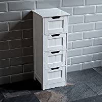Home Discount Bathroom 4 Drawer Floor Standing Cabinet Unit Storage Wood, White