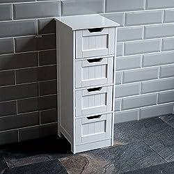 Home Discount Bathroom 4 Drawer Floor Standing Cabinet Unit Storage Wood, White
